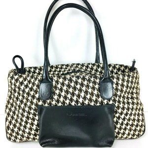 Vintage Lancel Leather Tweed Houndstooth Handbag